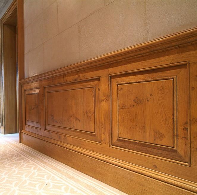 boiserie corridoio in legno milano