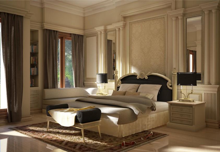 Camera da letto con boiserie Milano
